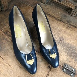Salvatore Ferragamo navy gold slip on heel vintage